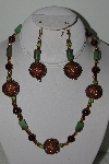 "MBAHB #003-053  ""One Of A Kind Brown Bead & Green Gemstone Necklace & Earring Set"""