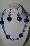 "MBAHB #003-058  ""One Of A Kind Blue Glass Bead Necklace & Earring Set"""