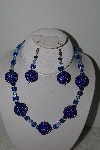 "MBAHB #003-062  ""One Of A Kind Blue Glass bead Necklace & Earring Set"""