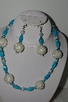 "MBAHB #003-068  ""One Of A Kind Turquoise & Glass Bead Necklace & Earring Set"""