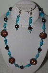 "MBAHB #003-073  ""One Of A Kind Turquoise & Brown Bead Necklace & Earring Set"""