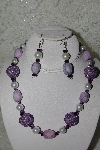 "MBAHB #003-146  ""One Of A Kind Purple Bead,Howlite & White Glass Pearl Necklace & Earring Set"""