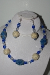 "MBAHB #003-156  ""One Of A Kind Blue, Crystal Quartz & Lapis Necklace & Earring Set"""