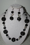 "MBAHB #003-161  ""One Of A Kind Black Bead & Crystal Butterfly Necklace & Earring Set"""