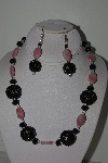 "MBAHB #003-177  ""One Of A Kind Black & Pink Rhodocrosite Bead Necklace & Earring Set"""