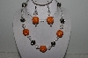 "MBAHB #003-255  ""One Of A Kind Orange, Crystal & German Silver Necklace & Earring Set"""