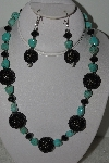 "MBAHB #003-312  ""One Of A Kind Black Crystal & Turquoise Necklace & Earring Set"""