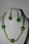 "MBAHB #003-295  ""One Of A Kind Green Bead Necklace & Earring Set"""