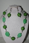 "MBAHB #003-275  ""One Of A Kind Green Bead & Gemstone Necklace & Earring Set"""
