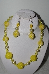 "MBAHB #003-290  ""One Of A Kind Yellow Bead Necklace & Earring Set"""