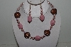"MBAHB #003-265  ""One Of A Kind Pink & Brown Bead Necklace & Earring Set"""