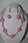 "MBAHB #003-285  ""One Of A Kind Pink Bead Necklace & Earring Set"""