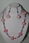 MBAHB #003-237  One Of A Kind Pink Bead Necklace & Earring Set""