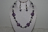"MBAHB #003-217  ""One Of A Kind Purple & White Bead Necklace & Earring Set"""
