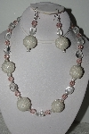 "MBAHB #003-212  ""One Of A Kind Clear & Pink Bead Necklace & Earring Set"""