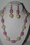 "mbahb #003-207  ""One Of A Kind Pink Bead & Gemstone Necklace & Earring Set"""