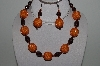"MBAHB #003-196  ""One Of A Kind Orange & Brown Bead Necklace & Earring Set"""