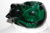 "**MBAHB #003-085  ""Beautiful Green Glass cat Candle Holder"""