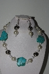 "MBAHB #009-202  ""One Of A Kind Blue Gemstone,Crystal Quartz & Shell Pearl Bead Necklace & Earring Set"""
