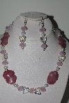 "MBAHB #009-190  ""One Of A Kind Pink Gemstone & Bead Necklace & Earring Set"""