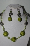"MBAHB #009-185  ""One Of A Kind Green Bead Necklace & Earring Set"""
