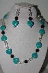 "MBAHB #009-170  ""One Of A Kind Blue Gemstone Heart Bead Necklace & Earring Set"""