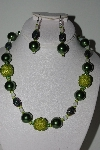 "MBAHB #009-160  ""One Of A Kind Green Bead Necklace & Earring Set"""