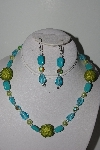 "MBAHB #009-155  ""One Of A Kind Blue & Green Bead Necklace & Earring Set"""