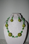 "MBAHB #009-149  ""One Of A Kind Green Bead & Crystal Necklace & Earring Set"""
