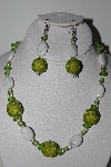 "MBAHB #009-100  ""One Of A Kind Green & White Bead Necklace & Earring Set"""