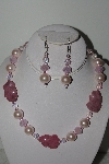 "MBAHB #009-095  ""One Of A Kind Pink Bead Necklace & Earring Set"""