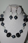 "MBAHB #009-090  ""One Of A Kind Grey & White Bead Necklace & Earring Set"""