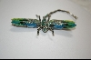 "**Artist  Marked ""Janus"" Crystal And Enameled  Green Dragon Fly  Pin/Pendant"