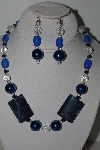 "MBAHB #009-080  ""One OF A Kind Blue Bead Necklace & Earring Set"""