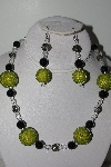 "MBAHB #009-070  ""One Of A Kind Green & Black Bead Necklace & Earring Set"""