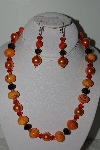 "MBAHB #009-065  ""One Of A Kind Orange & Black Bead Necklace & Earring Set"""