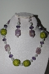 "MBAHB #009-060  ""One Of A Kind Green,Purple & White Bead Necklace & Earring Set"""