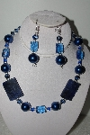 "MBAHB #009-045  ""One Of A Kind Blue Bead Necklace & Earring Set"""