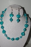 MBAHB #009-039  One Of A Kind Blue Bead Necklace & Earring Set""
