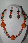"MBAHB #009-034  ""One Of A Kind Orange & Black Bead Necklace & Earring Set"""