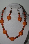 "MBAHB #009-024  ""One Of A Kind Orange  Bead Tiger Eye Necklace & Earring Set"""