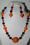 "MBAHB #009-008  ""One Of A Kind Orange & Black Bead Necklace & earring Set"""