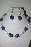 "MBAHB #013-180  ""One Of A Kind Lapis & Cystal Quartz Bead Necklace & Earring Set"""