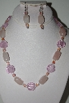"MBAHB #013-145  ""One Of a Kind Pink Bead & Rose Quartz Necklace & Earring Set"""