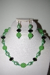 "MBAHB #013-032  ""One Of A Kind Green Bead Necklace & Earring Set"""
