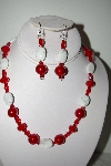 "MBAHB #013-103  ""One Of A Kind Red & White Bead Necklace & Earring Set"""