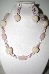 "MBAHB #013-108  ""One Of A Kind White & Pink Bead Necklace & Earring Set"""