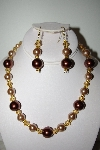 "MBAHB #013-017 ""Brown Bead Necklace & Earring Set"""