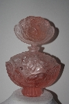 "MBAMG #24-013  ""Large Beautiful Pink Frosted Glass Cherub Perfume Bottle With Stopper"""