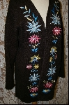 "MBA #8057  ""Victor Costa Floral Embroidered Sweater Coat"
